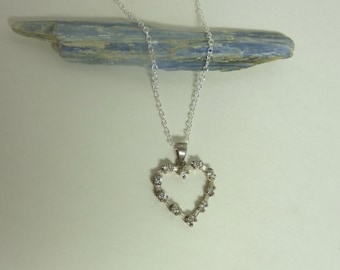 Vintage 1960's Sterling Silver Pierced Heart Pendant with Rhinestone Crystals Necklace