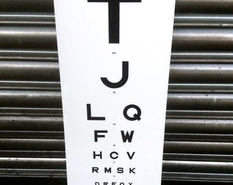 Vintage eye test chart - Black letters & white background - Original! - Great wall decor!