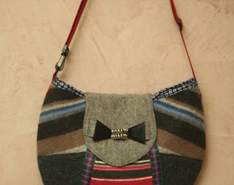 shoulder bag - felted wool - multicolored