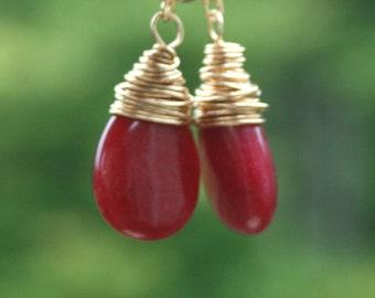 Royal Ruby    Ruby Briolette 14k Gold Filled Dangle Earrings by Maggie McMane Designs