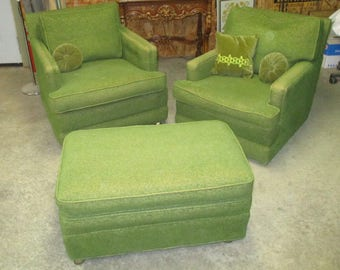 vintage 60s furniture. 60s 70s Retro Green Chairs Ottoman Set Mid Century Lounge Vintage Furniture A