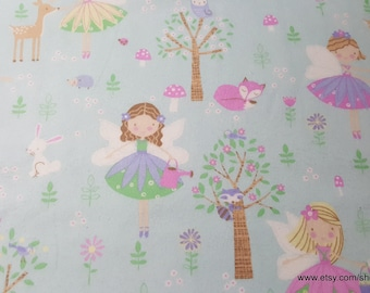 Flannel Fabric - Princess Fairies - By the yard - 100% Cotton Flannel
