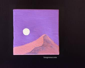 "Desert at Night 3 x 3 inch Mini Painting -- ""Pérégrination la nuit"""