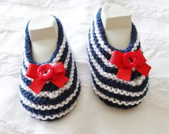 Slippers striped sailor baby 1-3 months - baby - birth - shoes Navy