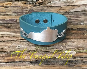 Leather Cuff Bracelet - Kentucky Bracelet - Kentucky Jewelry - Turquoise Leather Cuff