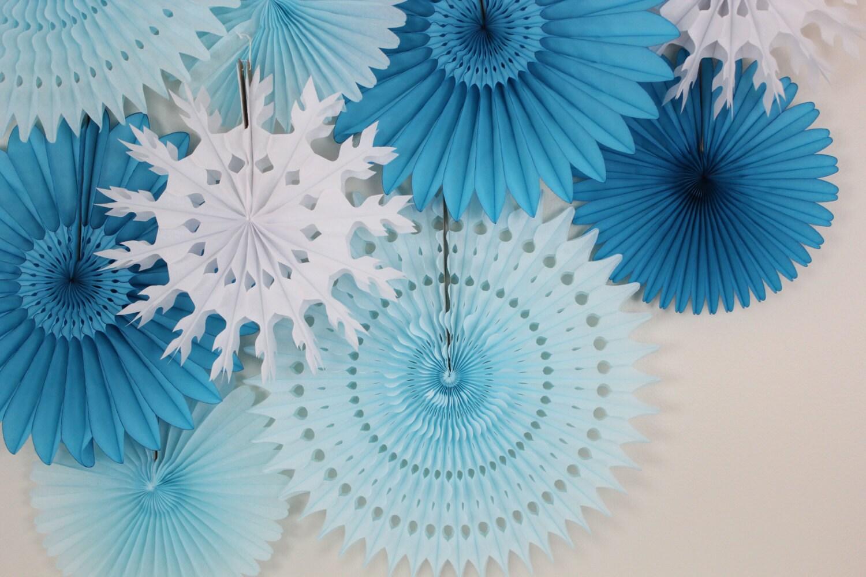 Winter wedding decor tissue paper fan wheels and snowflakes zoom mightylinksfo