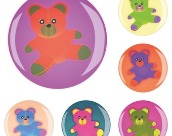 Set 6erMB66616 Fridge Magnet Magnet Memo Magnet Pinboard Nursery School teddy bear 4 cm strong sticky Jay button
