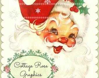 Retro Shabby Red Santa Large digital download  ECS buy 3 get one free  single image