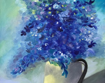 Blue Wild Flowers in Pitcher