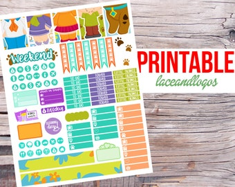 Printable Planner Stickers Retro Mystery Dog Friends for Erin Condren MAMBI Happy Planner Glam Planning 70s PDF JPG Cartoon Colorful Week