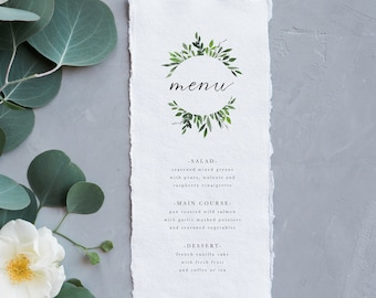 Greenery Wedding Menu | Simple Menu