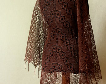 Hand knit linen shawl - Brown shawl with gold shade beads - femine lace shawl