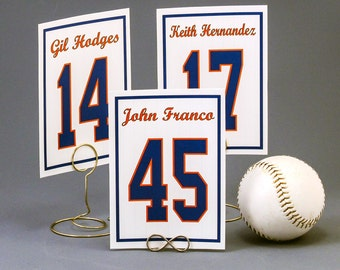Sports Jersey Table Number Cards for Weddings or Bar Mitzvah Birthday Parties