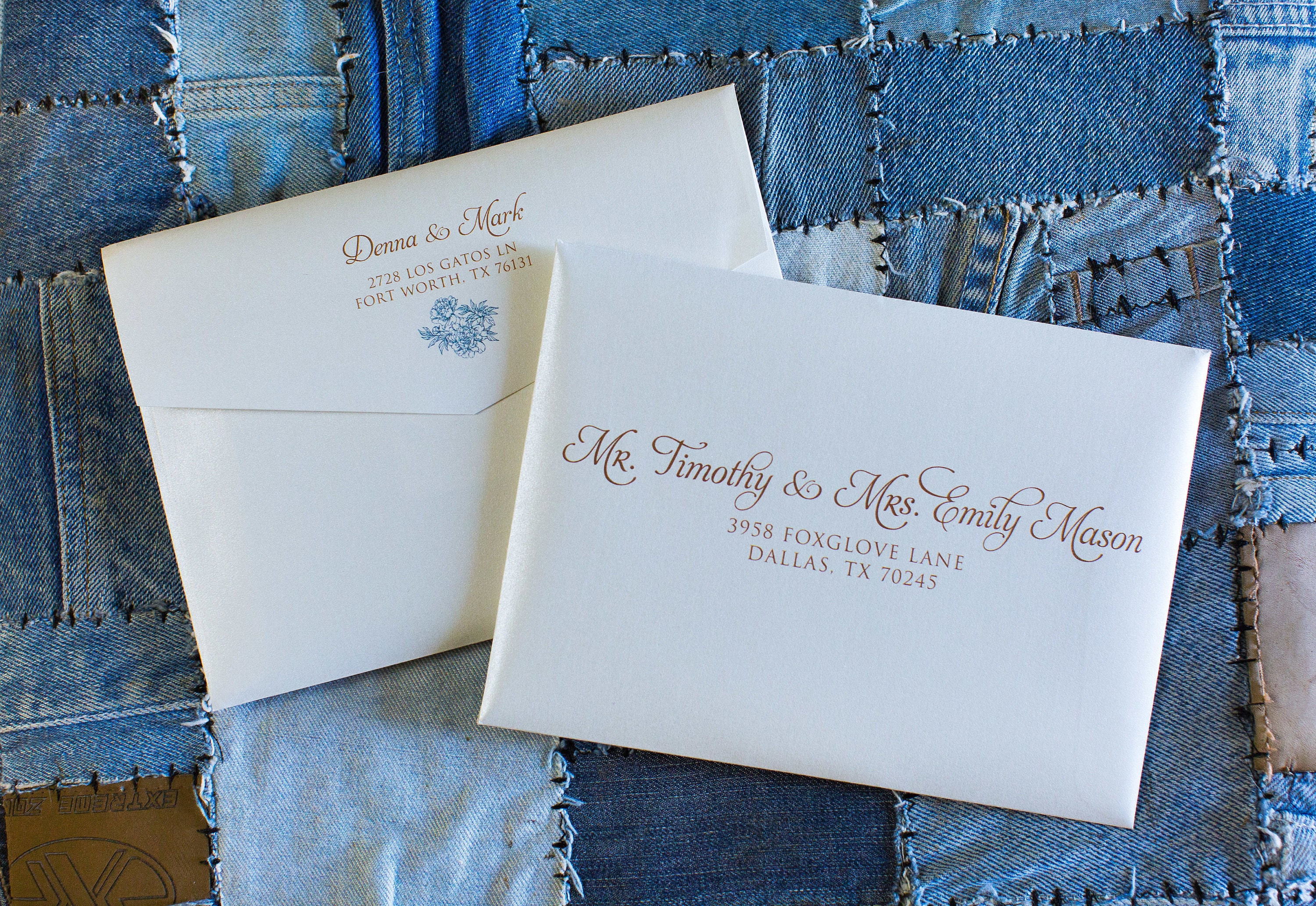 Copper blue turquoise rose gold ink wedding calligraphy address