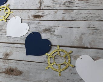 Nautical Garland, Gold Glitter or Silver Glitter, Nautical Bachelorette Decor, Nautical Party Decor, Ships Wheel and Heart Garland