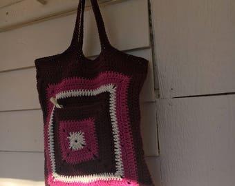 Crochet  shopping tote market bag-Batooli Bags