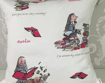 Handmade Matilda cushion Roald Dahl
