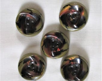 Vintage Buttons, 1930's buttons, iridescent buttons, green buttons, celluloid fasteners