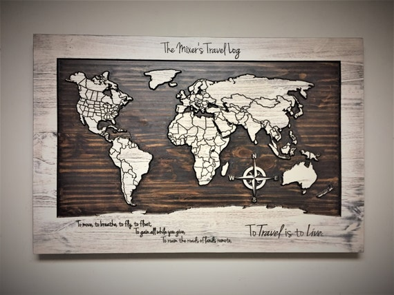 Wood wall art world map carved wooden