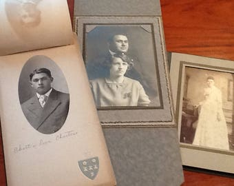 Antique Photos Set of 3 in Original Paper Folders