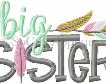 Big Sister!! Embroidered Shirt, Bodysuit, Burp Cloth, Dish Towel and more!