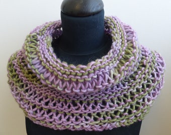 Purple & green hand dyed hand knit cowl / neck warmer