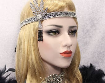 Great Gatsby Headpiece Flapper Headband roaring 20s Bridal 1920s wedding headpiece hair accessories Daisy Headband