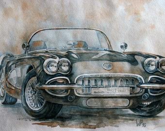 Art original painting Chevrolet Corvette C1 YEAR 1958, watercolor
