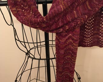 Vibrant Mulberry Extra Long Handknit Lace Scarf- Merino Wool and Silk