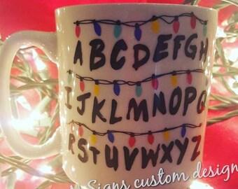 Stranger Things Coffee Mug, Will Byers, Joyce Byers, Gift, stranger things, christmas lights