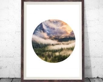 Circle Nature Print, Forest Print, Circle Art, Geometric Print, Forest Photography, Cloud Photography, Forest Art, Printable Wall Art