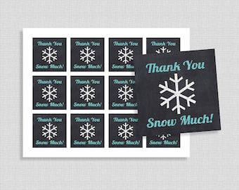 Thank You Snow Much Favor Tags, Chalkboard Blue Glitter Snowflake Shower Party Favor Tags, INSTANT PRINTABLE