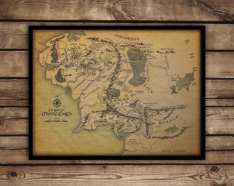 middle earth map lord of the rings poster print hobbit fantasy map lotr