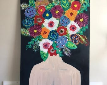 """Large Abstract Painting Original Acrylic Art """"Wildflower"""""""