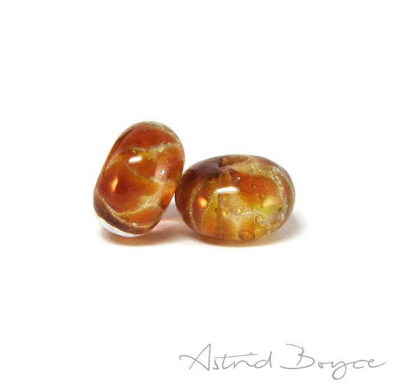 Golden Honey Artisan Lampwork Glass  Gold Bead Pair for Perfect Honey Bee Earrings  - Honeycomb colors in glass with Italian silver in glass
