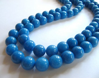 8mm Mashan Jade Beads in Sky Blue, Round, 52 Pcs, Full Strand, Dyed, Candy Jade, Mountain Jade, Dolomite Marble