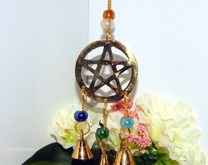 ALTAR DECOR Pentacle Pagan Wiccan - Indoor Outdoor Home decor wind chime bells