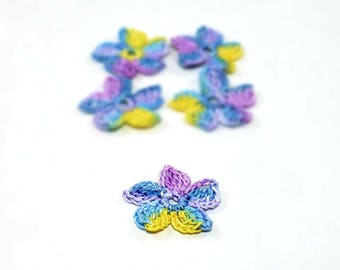 Crochet Applique Mini Flower Motif Flower Embellishment Crochet Flower Applique Crochet Motif Blue Purple Yellow Crochet Flower Motif