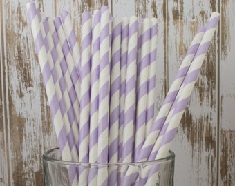 25 Lavender barber stripe paper drinking straws - cake pop sticks, vintage, party, bulk straws
