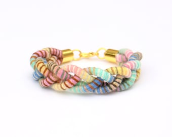Braided Rope Bracelet For Women, Multi Color Pastel Bracelet For Her, Textile Jewelry