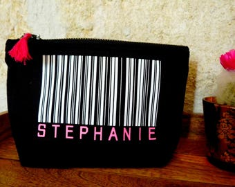 Kit barcode name - barcode - personalized - Bar Code - custom clutch - girlfriend gift - gift present witness.