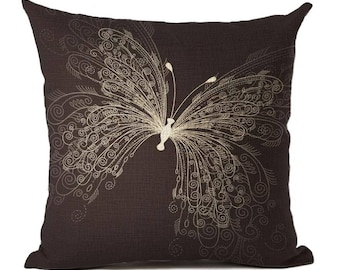 Butterfly Pillow Cover, Cotton Linen Poly Blend, Decorative Pillows,  Mariposa, Nature,