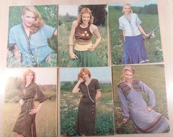 Crochet and Knitting patterns Set 14 postcards Soviet vintage lot