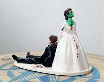 Zombie Wedding Cake Topper - Hand-painted, horror, alternative wedding, zombie apocalypse