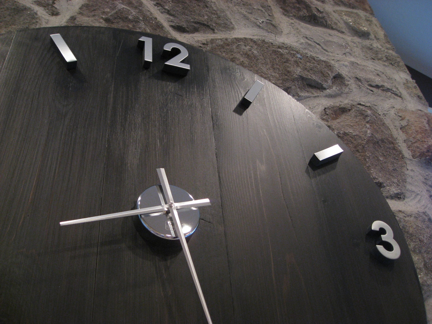 🔎zoom. large industrial wood and metal wall clock with modern