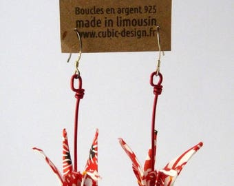 Origami crane red lotus earrings