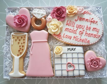 Maid of honour / Bridesmaid / Flower girl / Wedding gift box / Wedding flavour /Personalised gift / Thank you cookies / Personalised cookies
