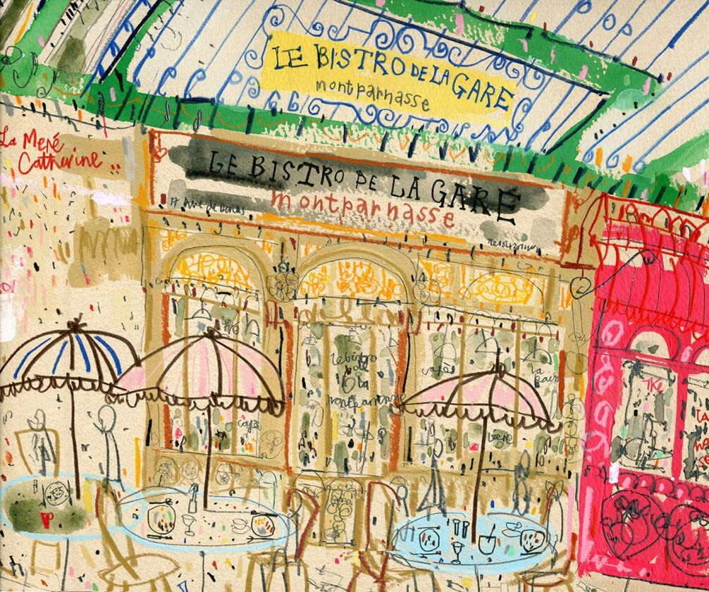 PARIS RESTAURANT BISTRO French Cafe Art Signed Print