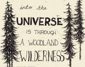 A Woodland Wilderness - John Muir quote - poster print