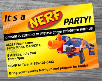 Dart Gun Birthday Party Invitation Custom Made - Very high quality and fast turn around!